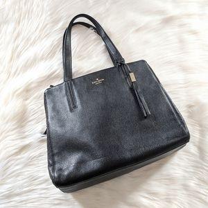 Kate Spade black grained leather shoulder tote bag